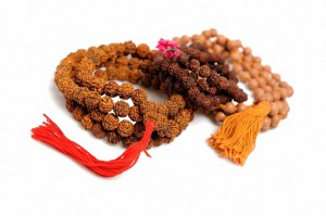 Traditional indian rosary for meditation - mala. isolated